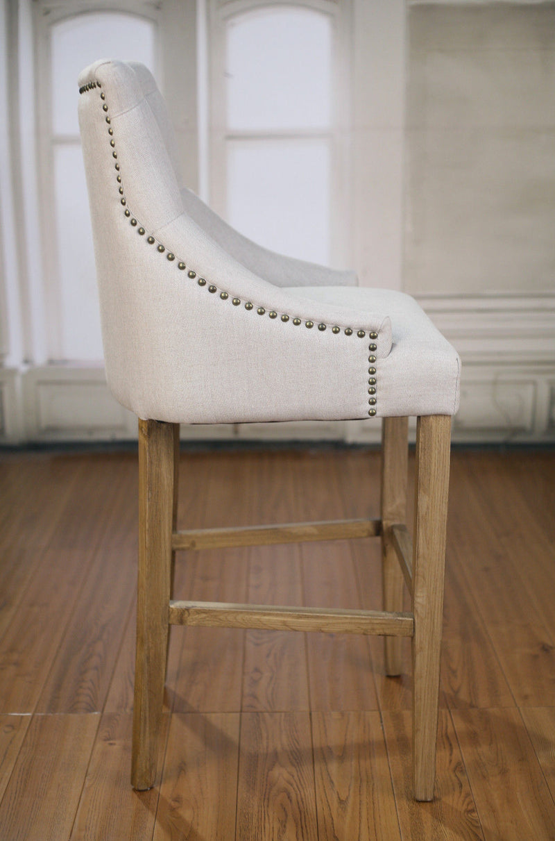 Bar Stool Oak Linen Upholstered French Provincial Studded Barstool Button