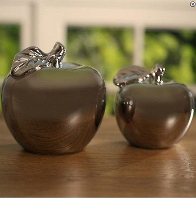 Ceramic Decor Apples Silver Set of 2 Large & Small