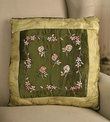 Cushion Throw Pillow Embroidered Silk Flower Green Filled 45cms BRAND NEW