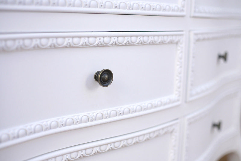 Chest of Drawers 6 Drawer Grey Top Dresser White