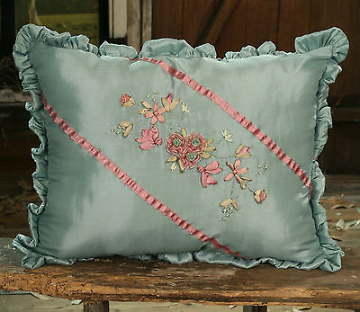 Cushion Throw Pillow Embroidered Flower Home Decor (Filled) 45x30cms BRAND NEW