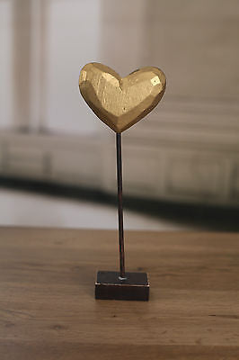 2 x Carved Wood Heart on Stand Home Decor 25cms Gold