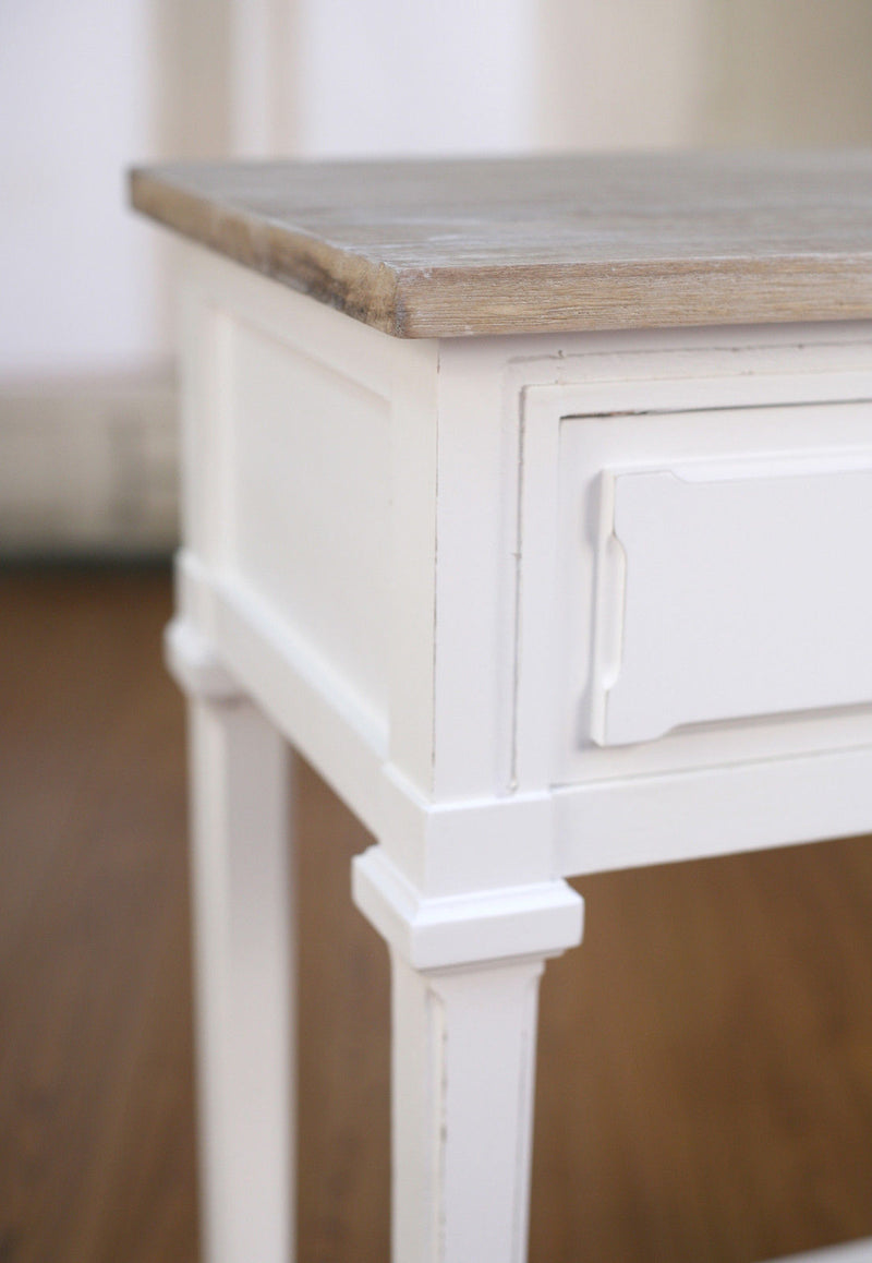Bedside Table French Provincial Grey Wash Antique Bedside Chest
