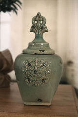 Rustic Green 'Fleur' Canister French Provincial Home Decor 36cms NEW. Medium