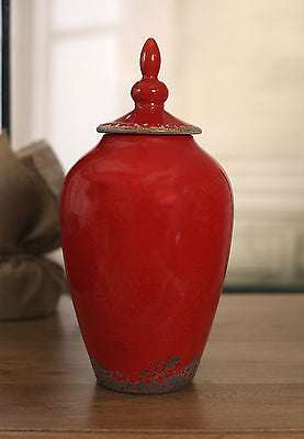 Canister Jar Vase Rustic Red 30cms - Small