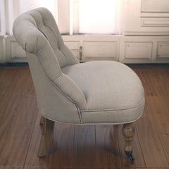 Bedroom Chair Upholstered Linen French Provincial USA Oak Chair