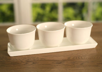 Condiment Bowls on Tray Ceramic Serverware Homewares Gift 24cms