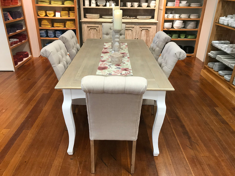 -Floor Stock- 7 Piece Dining Table Setting French Provincial 2x1m