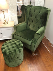 Pre-order: Wingback & Ottoman Tufed Green Velvet Oak Arm Chair