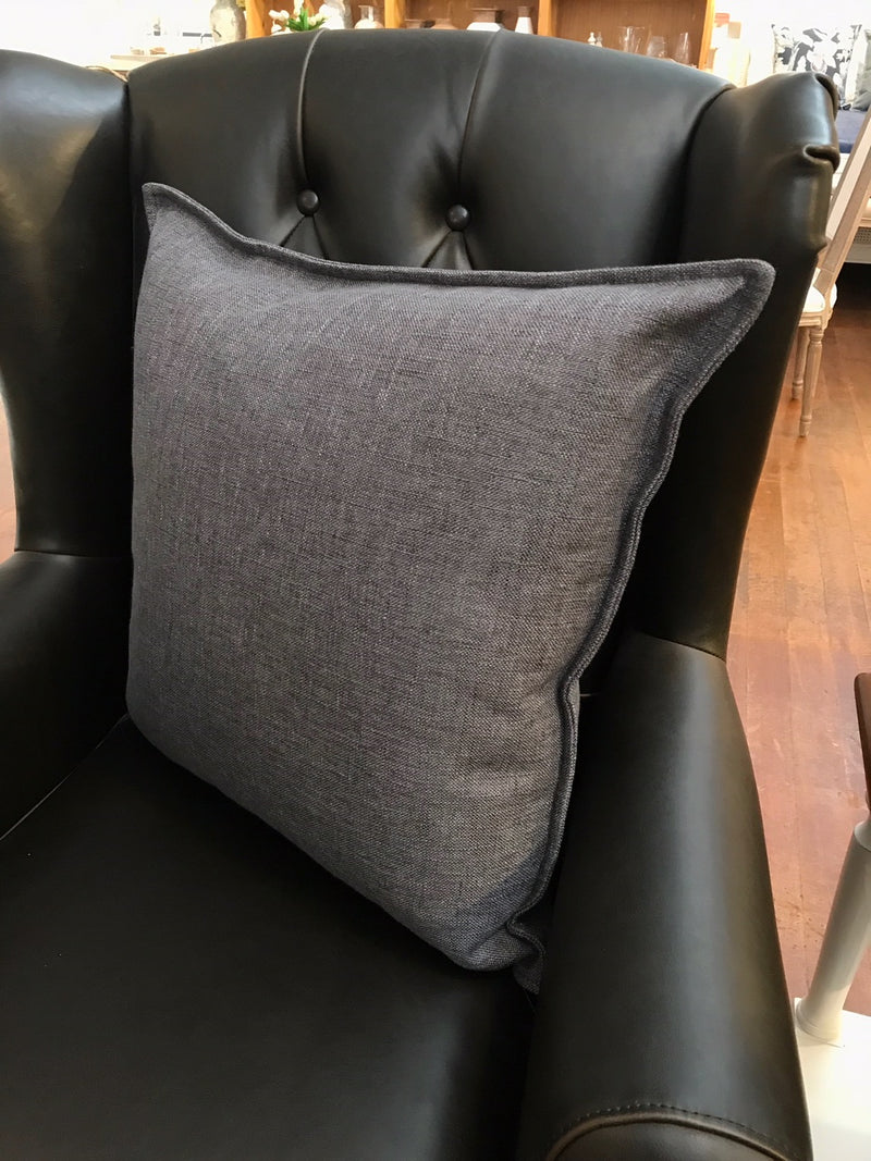 100% Linen Cushion Filled 50x50 - Charcoal Linen