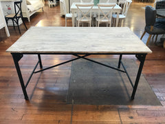 Dining Table French Industrial 160x90cm Timber Top - Black