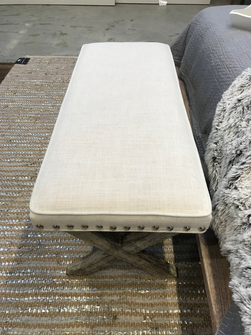 Stool Ottoman 'Fresnes' End of Bed Upholstered 110cms