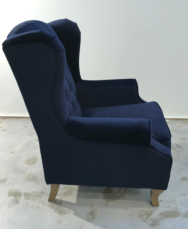 Wingback & Ottoman Button Back Blue Velvet Oak Arm Chair