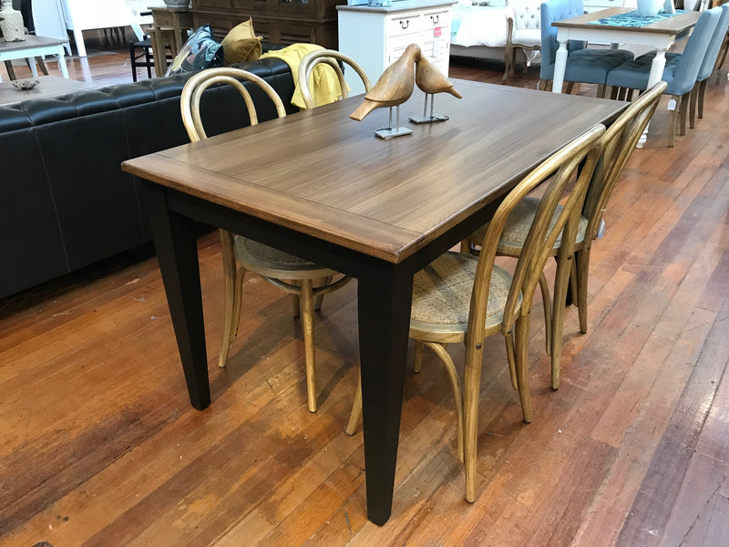 -Floor Stock- 7 Piece Dining Table Setting Black French Provincial 2x1m