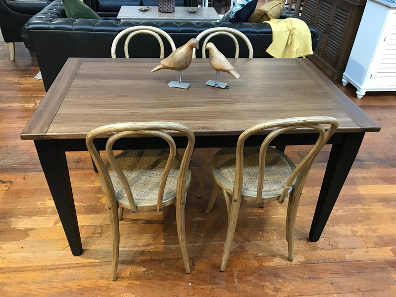 5 Piece Setting Oak Dining Table Black 140x80cm 'Orleans'