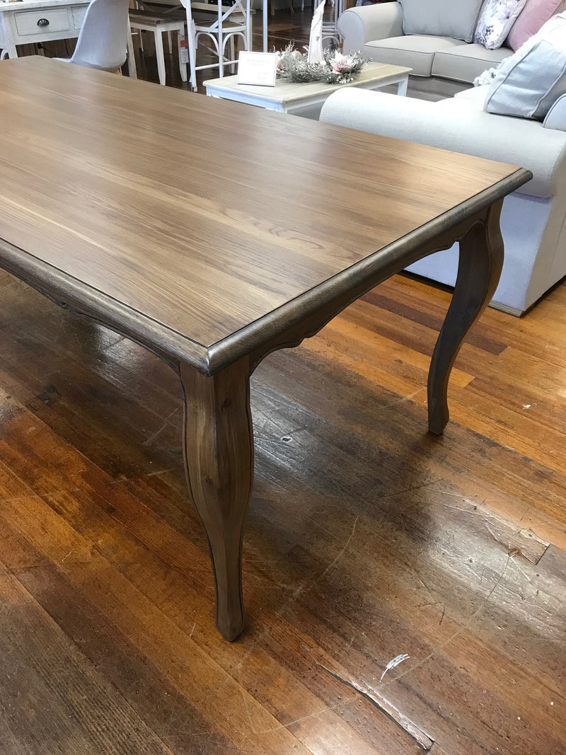 7 Piece Setting Dining Table 'Maison' Oak 2x1m - Grey chairs