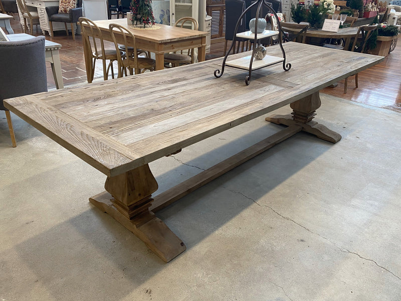 Recycled Elm Pedestal Table 300x100cm