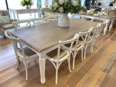 11 Piece Brittany Dining Setting 240x120cm White Wash Oak