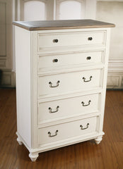 French Provincial 5 Drawer Chest of Drawers Tallboy Antique Top Dresser