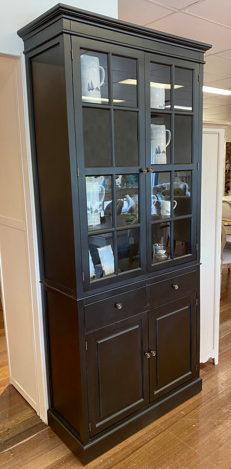 Picture of: Kitchen Buffet Hutch Unit Black Dresser Hamptons Buffet And Hutch