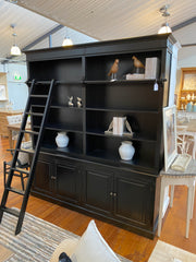 Library Display Unit with Ladder Black 200cms