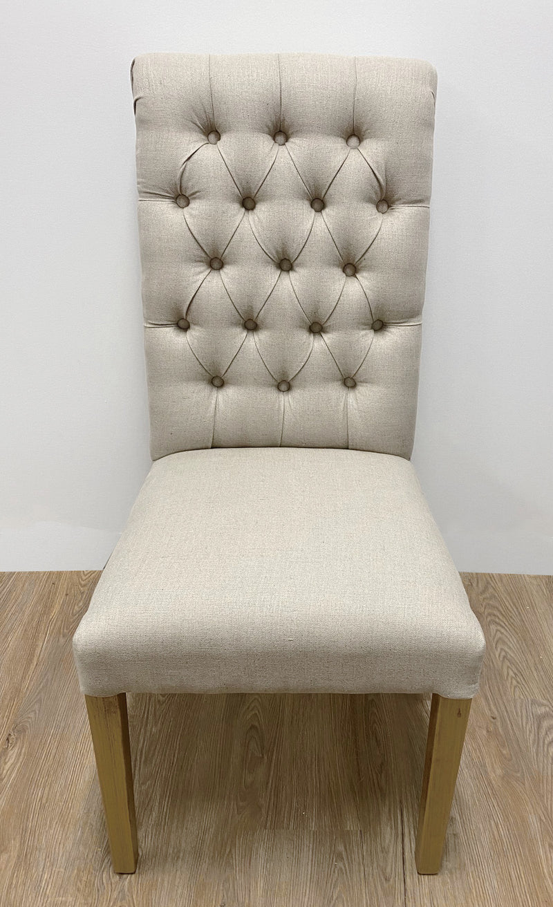 Calais Dining Chair USA Oak & Natural Linen Button