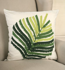 2 x Decorator Cushion Covers 45x45cms - Fern Applique Throw Pillow Covers NEW