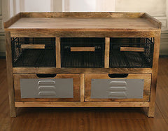 French Industrial Bench Seat Storage Unit
