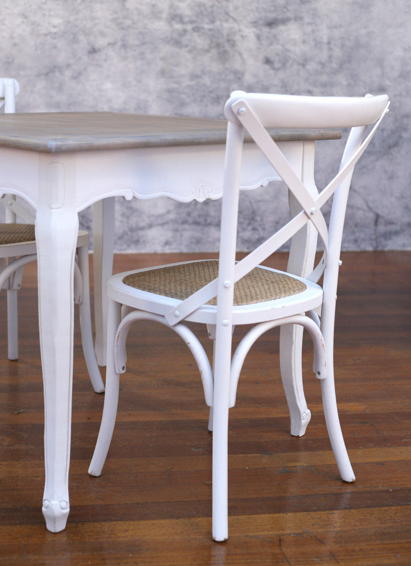 Setting 3 Piece 90x90 Dining Table Cross Back Chairs French Provincial Package