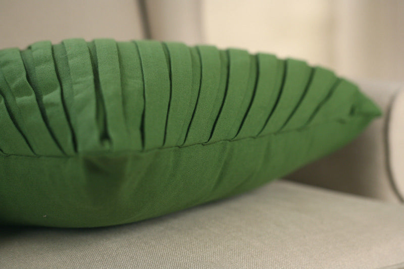 Decorator Cushion Cover 45x45cms -Pleated Moss Green Throw Pillow Home Decor NEW