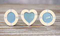 Set of 3 Mini Photo Frame Cream Enamel Diamante Shape Homewares Gift 7cms