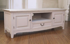 Entertainment TV Unit French Provincial Antique White Media Unit