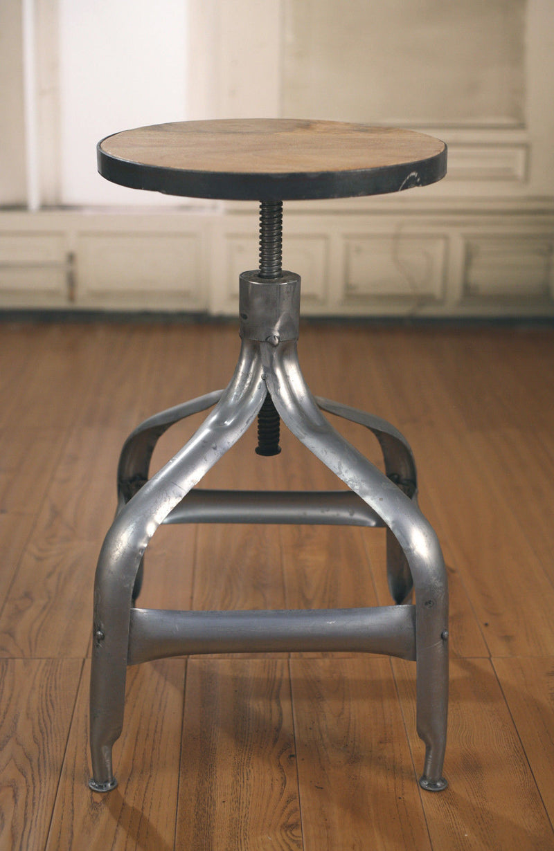 Stool Metal Base Adjustable French Industrial Hardwood Rustic Bar Stool