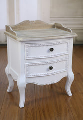 Juliet Bedside Chest Antique White Table 2 Drawer Low