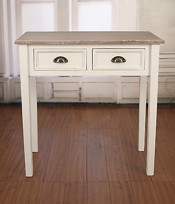 Beachmere Sofa Table Desk Antique White 2 Drawers