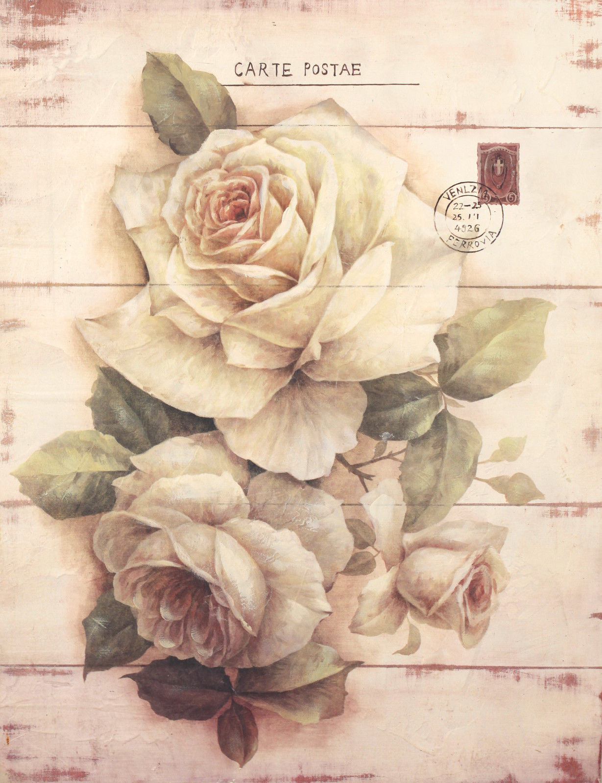 Wall Art Wooden Frame Flower Sign French Provincial Home Rustic