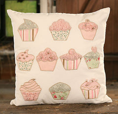 Cushion Throw Pillow Embroidered Cupcakes Kids Decor Filled 40x40cms NEW