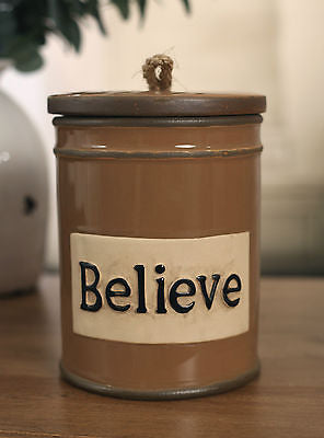 Rustic BELIEVE Ceramic Canister Home Decor French Provincial 20cms BRAND NEW