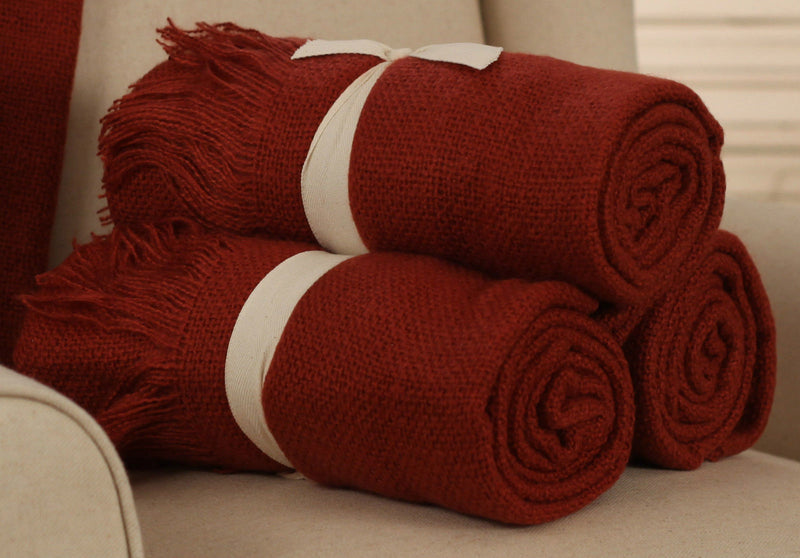 Throw Rug Soft Touch Throw Blanket Decorative Bedding Blanket 127x150cms - RUST