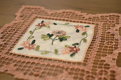Lace Doily Brown with Ribbon Embroidery Home Decor 23cms BRAND NEW