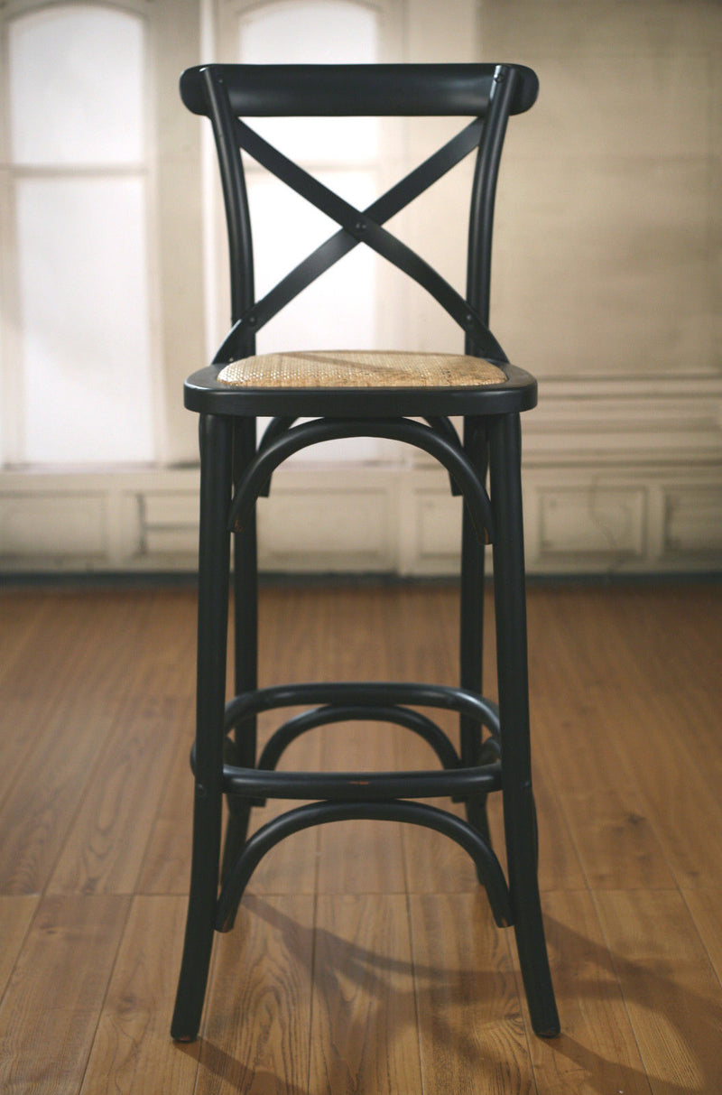 Bar Stool Antique Black Cross Back French Provincial Birch Cafe Barstool