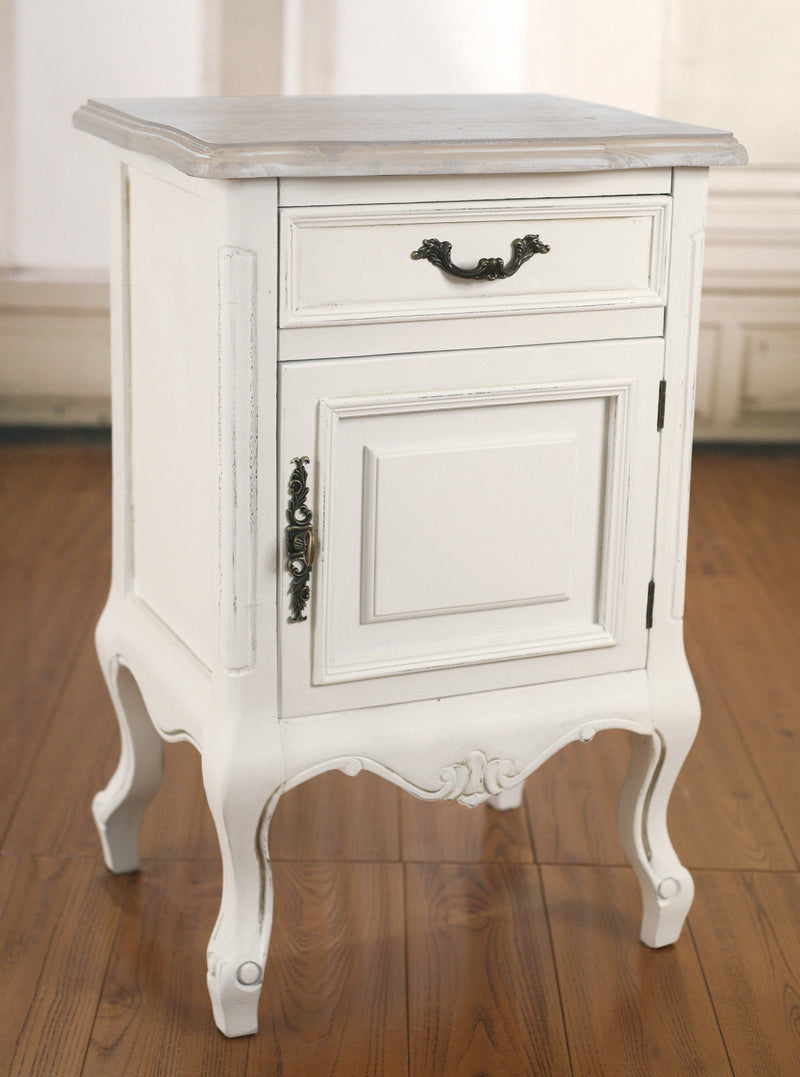 Bedside Chest Table French Provincial Antique White Night Stand