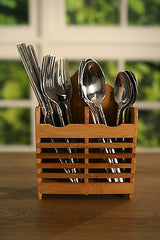 Bamboo Cutlery Picnic Box Utentil Holder 20cms