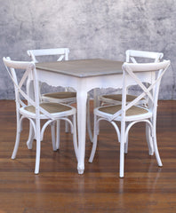 Setting 5 Piece 90x90 Dining Table Cross Back Chairs Package