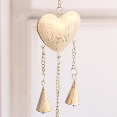 Rustic Tin String of Hearts & Bells Hanging Hearts Home Decor Gift 94cms NEW