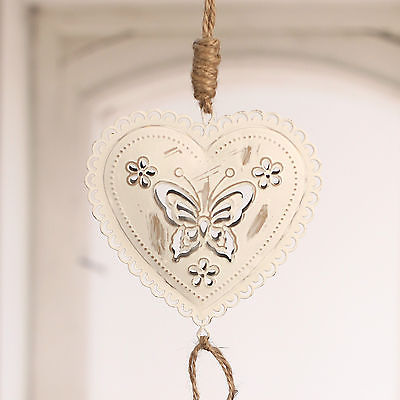 Rustic Hanging Tin Heart Hanger Home Decor 40cms BRAND NEW. Cream