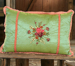 Cushion Throw Pillow Embroidered Flower Silky Filled 50cms BRAND NEW