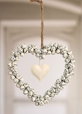 Hanging Cream Metal Heart of Bells Home Decor 13cms BRAND NEW