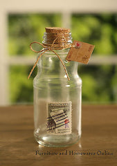 Set of 4 Vintage Style Stamp Cork Lid Glass Jars Antique Style Home Decor NEW