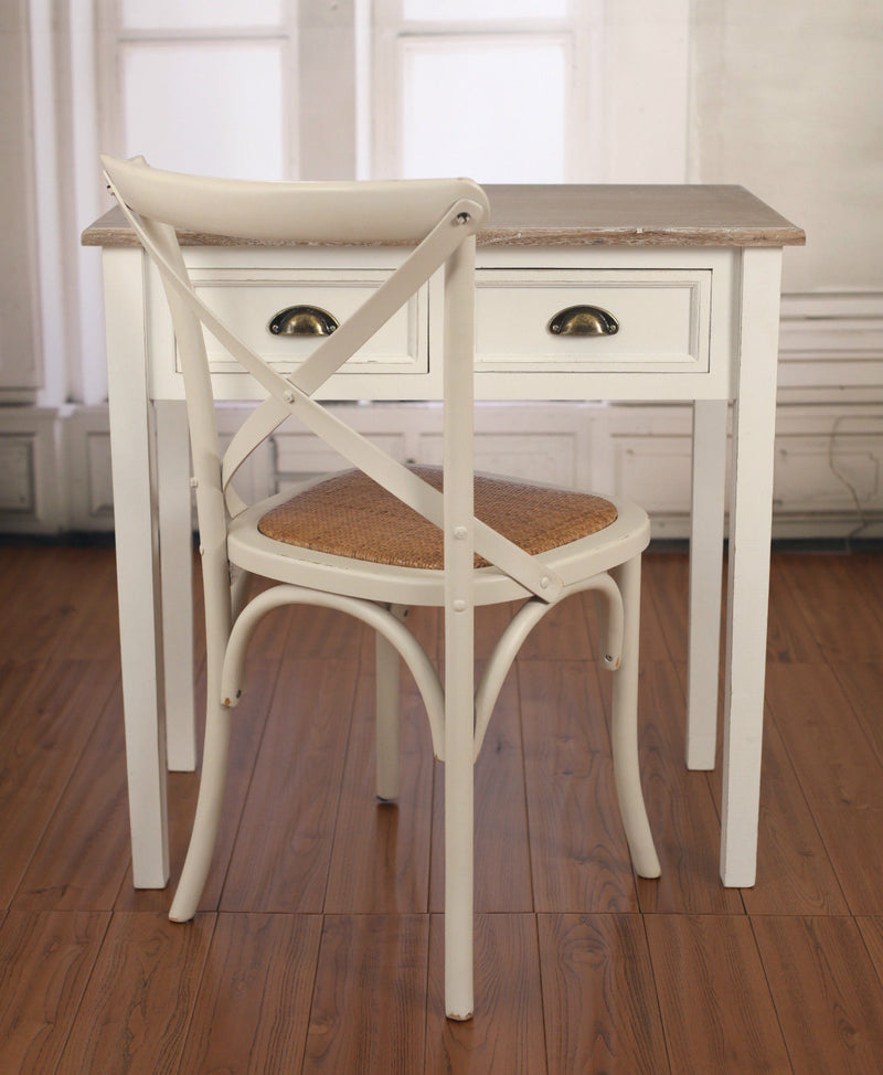 French Provincial Desk & Chair COMBO Sofa Table Antique White with 2 Drawers